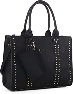 | Concealed Carry Top Handle Handbag | Faux Leather Locking Firearm Purse | Crossbody with Stud Accent