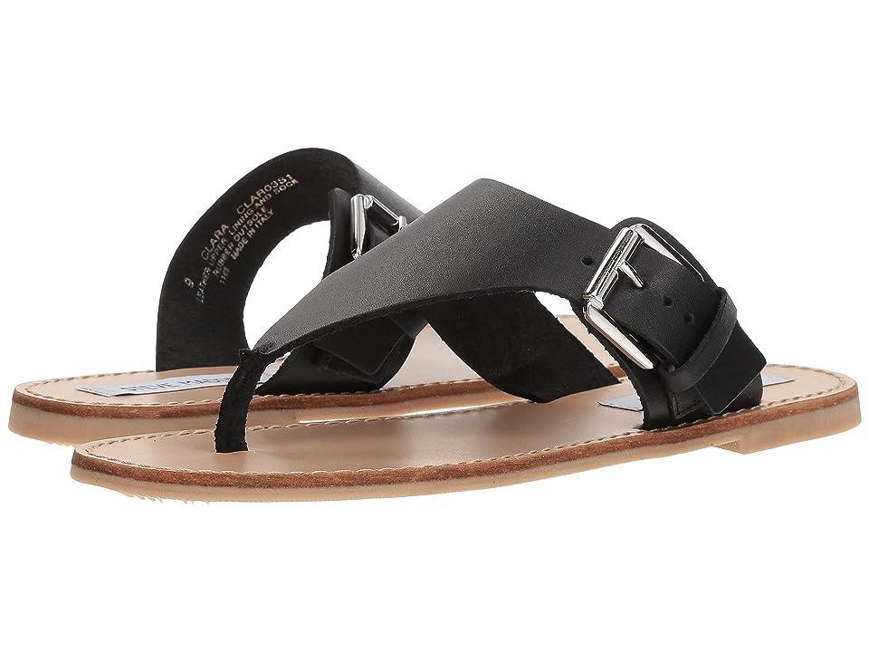 Steve Madden Clara Flat Sandal (Black Leather) Women
