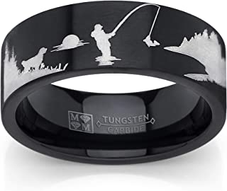 Men's Black Tungsten Trout Lake Fly Fishing Enthusiasts Ring, Outdoor Scenery Band 8mm