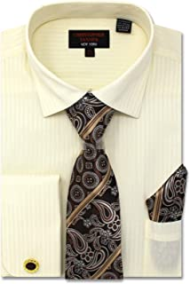 Christopher Tanner Men's Regular Fit Dress Shirts with Tie & Handkerchief Cufflinks Combo Solid Striped Pattern