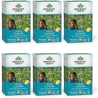 Organic India Tulsi Cleanse Herbal Tea - Stress Relieving & Detoxifying, Immune Support, Adaptogen, Vegan, Gluten-Free, US...