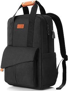 SUEBEKUE Mochila Portatil Hombre de 15.6 Pulgadas, Mochila Mujer con Bolsillo RFID para Adolescentes de Escola,Negocios,Viajes(Negro)