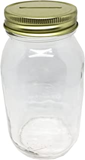 1 Smooth Sided Mason Jar with Slotted Lid Regular Mouth Quart 32oz Piggy Bank (1, gold)