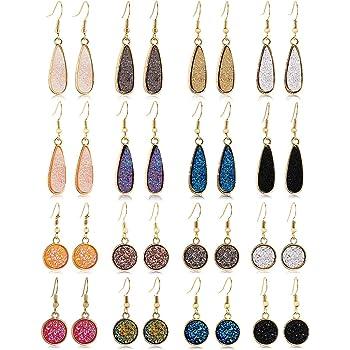 FIFATA 15-16 Pairs Teardrop Crystal Dangle Earrings for Women Girls Boho Rainbow Quartz Ear Stud Cubic Zirconia Hoop Earring Jewelry Set for Wedding Party Christmas Gifts