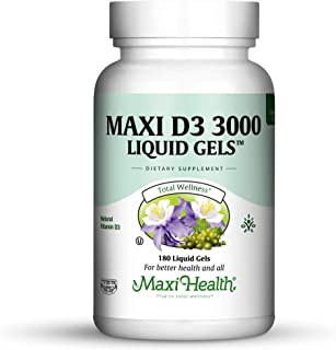 Sponsored Ad - Maxi Health D3 3000 Liquid Gels Natural Vitamin Capsules, 180 Count