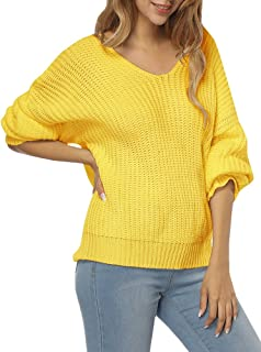 Womens Sweaters Oversized V Neck Off Shoulder Long Sleeve Cable Knit Pullover Sweater Tunic Tops