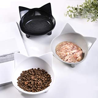 Cat Bowls Cat Food Bowls Non Slip Cat Double Dish Pet Food & Water Bowls Raised Puppy Food Bowl Stress Relief Feeder Bowls Wide Dish Pet Bowl for Dogs Cats Rabbits, (Safe Food-grade Melamine Material)