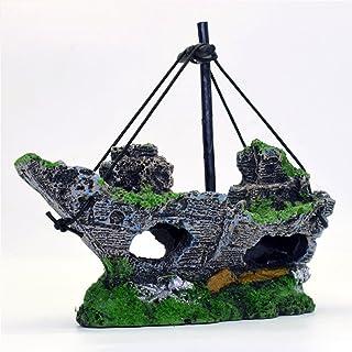 EMVANV - Figura Decorativa de Resina para Acuario de Barco de Pesca, Decoración de plástico