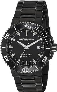 Stuhrling Original Men's 749.03 Aquadiver Regatta Corvet Swiss Quartz Professional Diver Black Bracelet Watch