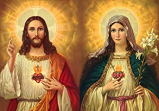 Jesus and Mary POSTER A4-A3 print Sacred Heart of Virgin Mary painting Artwork Religious Catholic Christian Holy Wall Art Decor for Room Home Chapel