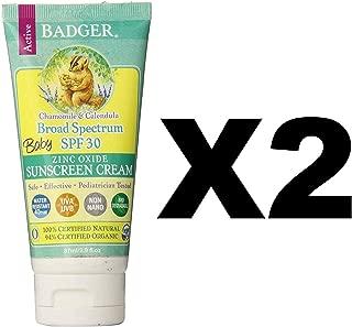 Badger Baby Sunscreen Cream SPF 30, 2.9 oz, 2 Pack