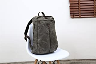 Men's Shoulder Bag Oil Wax Canvas Bag Retro Crazy Horse Skin Backpack Batik Canvas Waterproof Backpack (Color : Gray, Size : M)