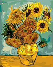 Painting by Numbers DIY Oil Painting for Adult Retro Sunflower Canvas Print Wall Art Decoration 40X50Cm