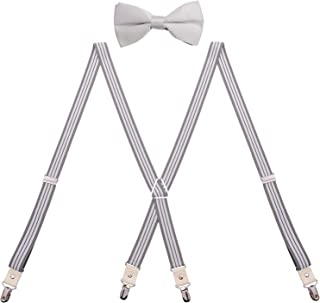 BODY STRENTH Y Shape Adjustable Men's Suspenders with Clips Wide Leather Braces
