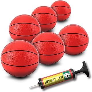 Berauscht 8.6 Inch Mini Basketball, 6PCS Kids Pool Basketball Replacement Mini Toy Basketball Kids Rubber Basketball Toddler Basketball for Toddlers Kids Teenagers with Inflation Pump