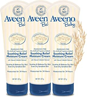 Aveeno Baby Soothing Relief Moisturizing Cream with Natural Oat Complex for Dry Sensitive Skin, Fragrance-free & Paraben-F...