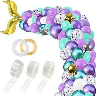 RUBFAC 311pcs Mermaid Party Supplies, Mermaid Tail Balloon Garland Set, Mermaid Arch Kit, for Mermaid Birthday Supplies, U...