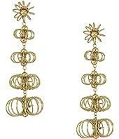 """3"""" Gold Open Wire Flowers Post Earrings"""