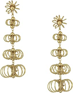 "3"" Gold Open Wire Flowers Post Earrings"