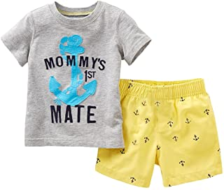 Boys' 2-Piece Outfit Set Letters Print Top and Yellow Shorts