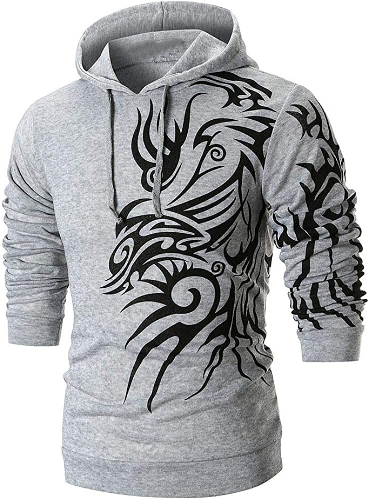 Hoodies for Men Pullover Lightweight, F_Gotal Unisex 3D Printed Cool Long Sleeve Hoodies Casual Hooded Pullover Outwear