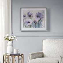 لوحة حائط Madison Park Lilac Blooming Wall Art - Flower Spring Garden Glass Modern Contemporary Canvas Painting Silver Fra...