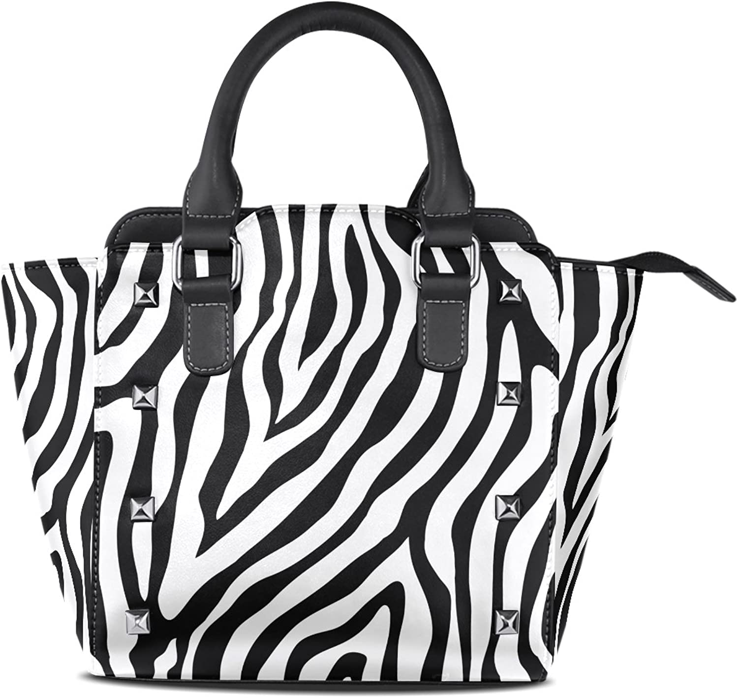 My Little Nest Women's Top Handle Satchel Handbag Zebra Skin Print Ladies PU Leather Shoulder Bag Crossbody Bag