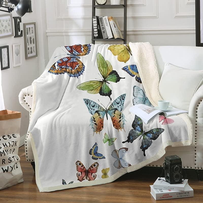 Sleepwish Butterfly Blanket Home Throw Blanket Sherpa Flannel Fleece Reversible Blankets Girls Hippie Blanket 50 X 60 Inch