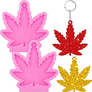 2 Pieces Maple Leaf Silicone Molds Leaves Shaped Keychain Molds Chocolate Candy Clay Moulds and 10 Pieces Key Rings with C...