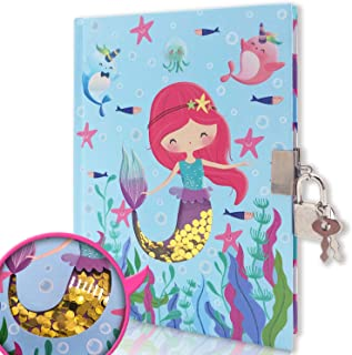 EverCreatives Diary with Lock for Girls and Boys , Mermaid Shakable Sequin Journal Secret Lock Diary Notebook for Kids