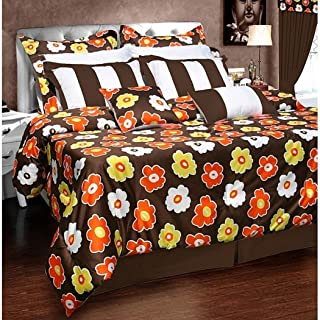 12 Piece Queen Brown Orange Comforter Set, Floral Pattern, Vibrant Off White, Damask Flower Paisley Medallion Hippie Bohemian Kashmir Boho Chic Indie Sleek Fashion Classic
