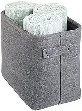 mDesign Soft Cotton Fabric Closet Storage Organizer Bin Basket Storage Organizer for Bathroom - Coated Interior and Attach...