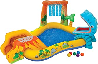 Kids Inflatable Pool. Small Kiddie Blow Up Above Ground Swimming Pool Is Great For Kids & Children To Have Outdoor Water Fun With Slide, Floats & Toys. This Dinosaur Baby Swim Pool - Light & Portable.