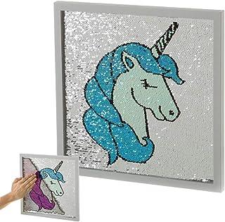 7d4294c5ab Cuadro de Lentejuelas Azul de Unicornio Infantil para Dormitorio de 35 x 35  cm Child -
