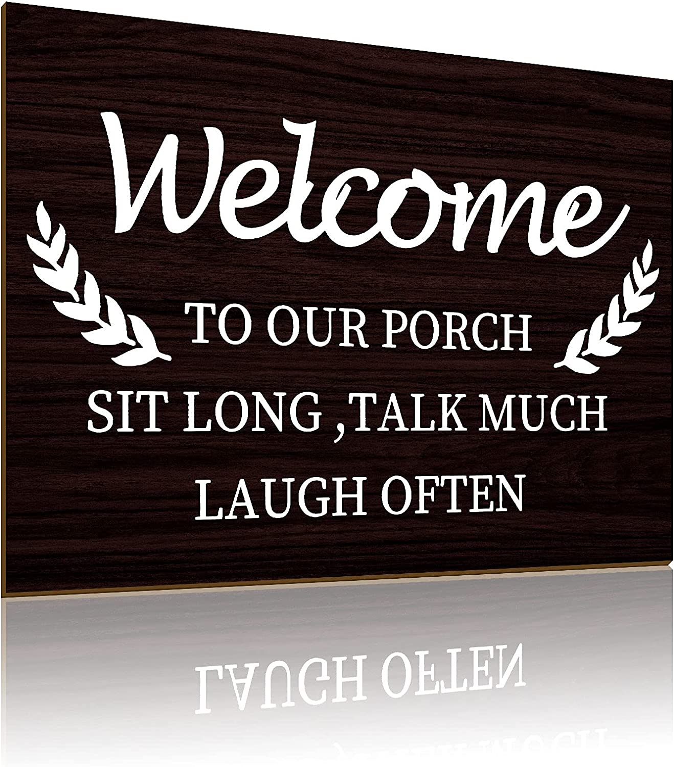 Welcome to Our Porch Sign Front Porch Wooden Decor Rustic Farmhouse Decor Home Sign Modern Retro Rustic Sign Front Porch Sign WallIndoor Outdoor Garden Decoration, 12 x 8 Inches