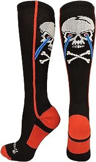 MadSportsStuff Crazy Socks with Laser Skull and Crossbones Over The Calf Socks