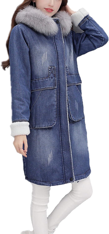 Allonly Women Fashion Scrub Scratch Denim Jacket Fox Fur Collar Long Cotton Coat