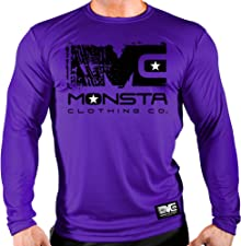 Monsta Clothing Co. Mens Bodybuilding Workout (MC-Icon-107) Gym LNGSLV (A:BK/WT)