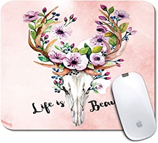 iNeworld Mouse Pad- Premium Rectangle Textured Mouse Mats Pads/Personalized Non-Slip Mousepad for Office Work Travel Home(Deer Elk Flower Cow Skull Motivating Quote)