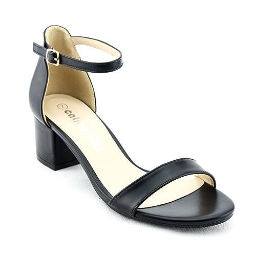 87f10436bf CALICO KIKI Women's Buckle Ankle Strap Low Block Heel Open Toe Heeled  Sandals
