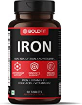 Boldfit Iron supplement for women & Men with Vitamin c, folic acid & Vitamin B12 - Iron tablets help support Blood Building - 60 Veg tablets