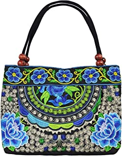 Women's Unique Vintage Hobo Tote Bags Embroidered Floral Shoulder Handbags for lady