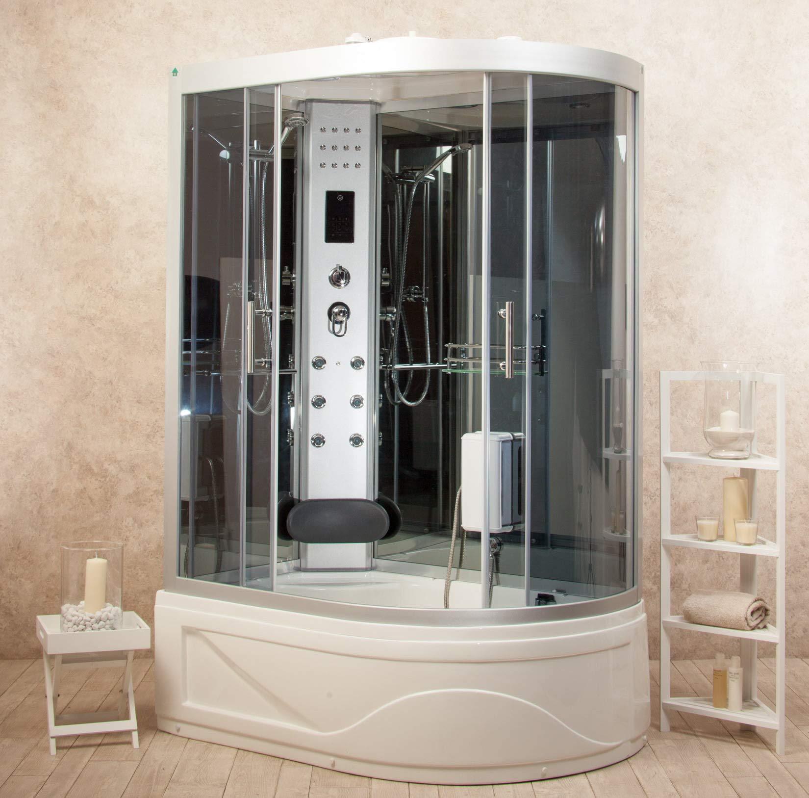 Box ducha hidromasaje bañera sauna y baño turco entrada a izquierda 115 x 90 cm vorich florence2: Amazon.es: Hogar