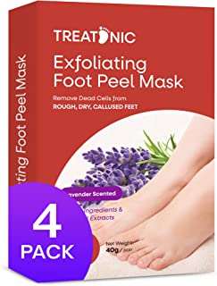Treatonic Foot Peel Mask -4 Pairs- Exfoliating Peeling Away Calluses and Dead Skin Cells, For Cracked Heels, Dead Skin & C...