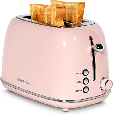 REDMOND 2 Slice Toaster Retro Stainless Steel Toaster with Bagel, Cancel, Defrost Function and 6 Bread Shade Settings Bread T