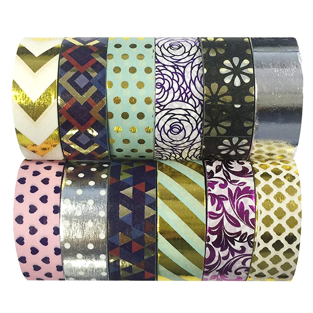 allydrew Washi Decorative Masking Tapes, Set of 12, ADSET65
