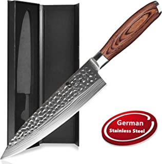 Professional Chef Knife [8 Inch], AIDEA Kitchen Chef's Knife Cooking Knife with High Carbon German Stainless Steel & Pakkawood Handle, Ultra-sharp Suitable for Home & Restaurant
