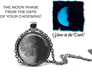 Glow in the Dark Your Custom Birth Moon Date Necklace or Key Chain Charm - Personalized Glowing Birthday Lunar Phase Pendant