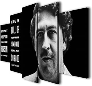 Susu Art - 5 Pcs Pablo Escobar Quotes Life Canvas Giclee Print Painting Picture Wall Art Home Modern Decor (with Framed, Size 3: 12x20inx2pcs, 12x28inx2pcs, 12x32inx1pc)
