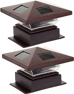 Westinghouse Pagoda II Solar LED Post Cap Light for 4 x 4 Wood Posts (Bronze, 2 Pack)